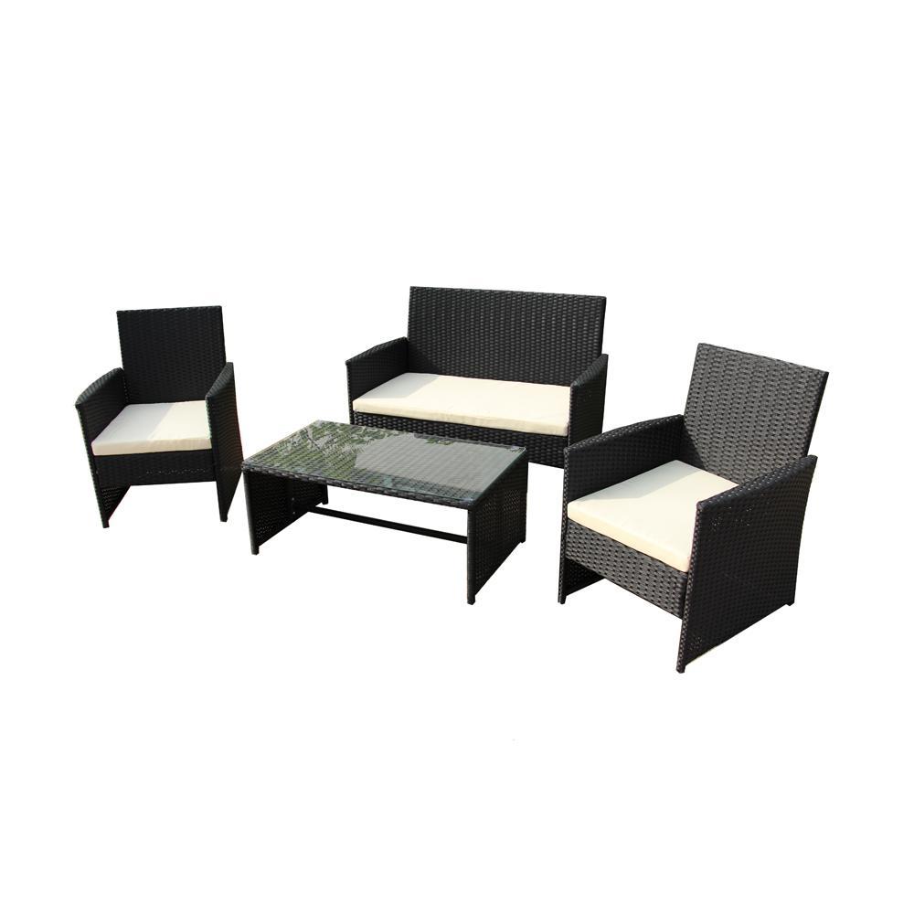 Aleko Seattle 4 Piece Rattan Furniture Set With Cream Cushions