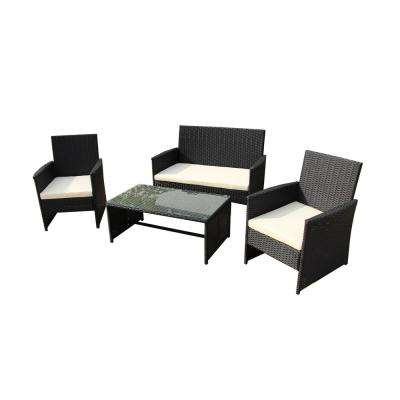 Seattle 4-Piece Rattan Furniture Set with Cream Cushions