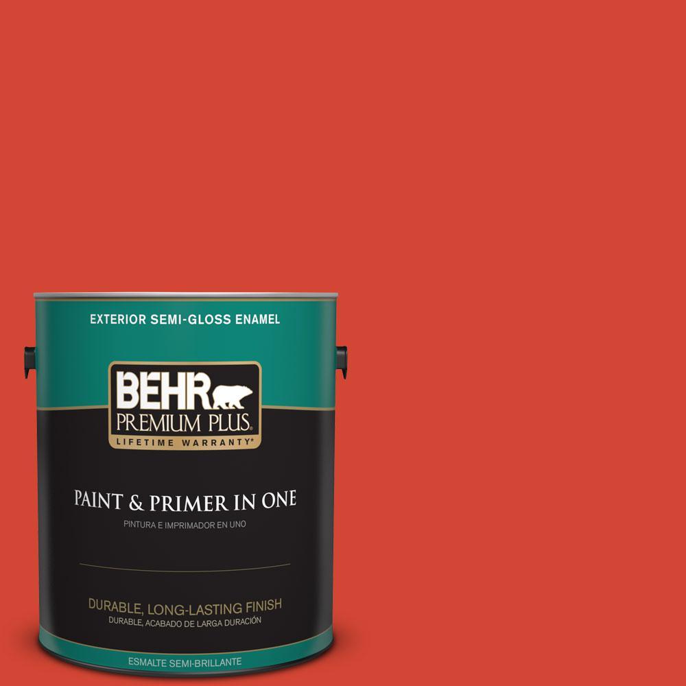 BEHR Premium Plus 1-gal. #S-G-190 Red Hot Semi-Gloss Enamel Exterior Paint