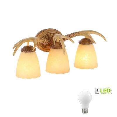 3-Light Natural Antler Vanity Light with Sunset Glass Shades, Dimmable LED Daylight Bulbs Included
