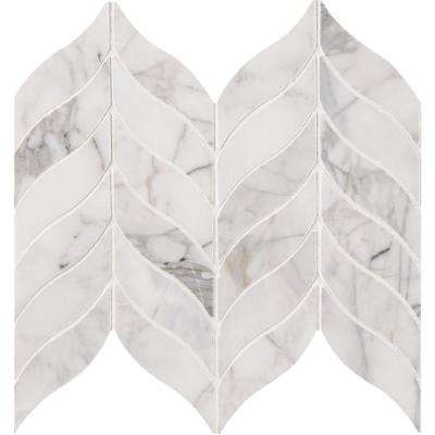 Calacatta Cressa Leaf 12 in. x 12 in. x 10 mm Honed Marble Mesh-Mounted Mosaic Tile (10 sq. ft. / case)