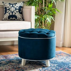 Admirable Safavieh Amelia Navy Storage Ottoman Hud8220N The Home Depot Ocoug Best Dining Table And Chair Ideas Images Ocougorg