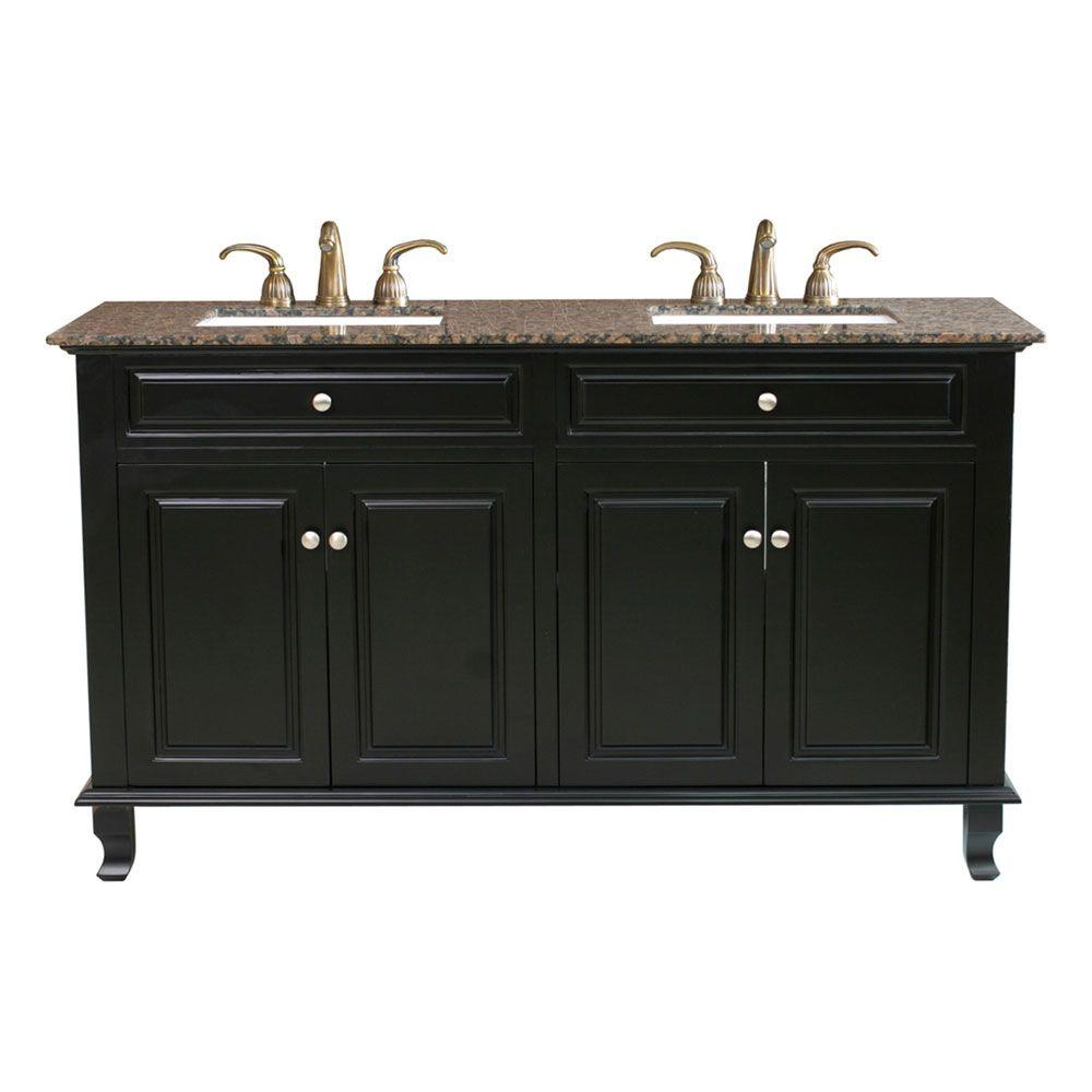 Bellaterra Home Cardiff BB 62 in. Double Vanity in Ebony with Marble Vanity Top in Baltic Brown-DISCONTINUED