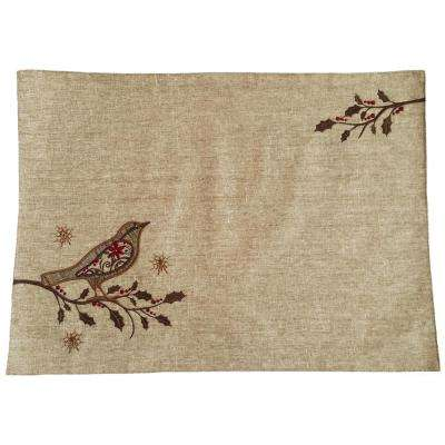 13 in. x 18 in. Bird On Twig Embroidery Placemat