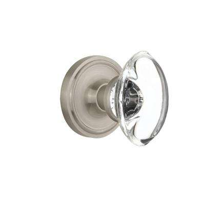 Classic Rosette Double Dummy Oval Clear Crystal Glass Door Knob in Satin Nickel