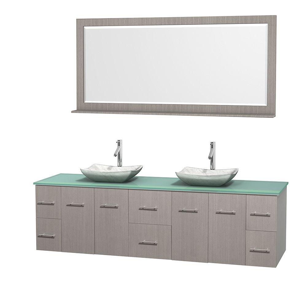 Centra 80 in. Double Vanity in Gray Oak with Glass Vanity