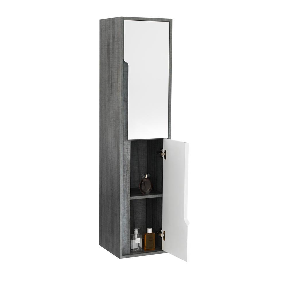 Milano 13.78 in. W x 13.78 in. D x 59.06 in. H 2 Door Wall Cabinet in Gray