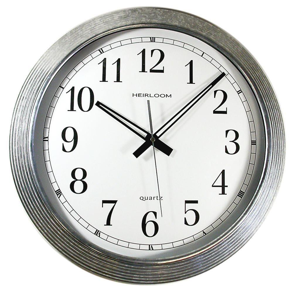 Timekeeper Products 16 in. Round Galvanized Metal Rim Wall Clock