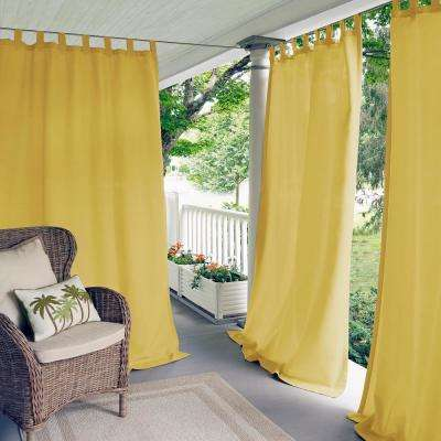 Semi-Opaque Matine Yellow Indoor/Outdoor Window Curtain Panel - 52 in. W x 108 in. L