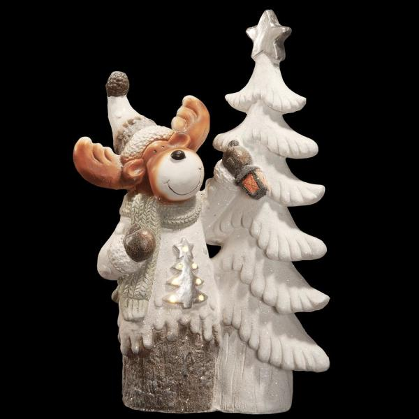 24 in. Magnesia Moose Standing by Tree Ornament with Battery Operated LED Lights