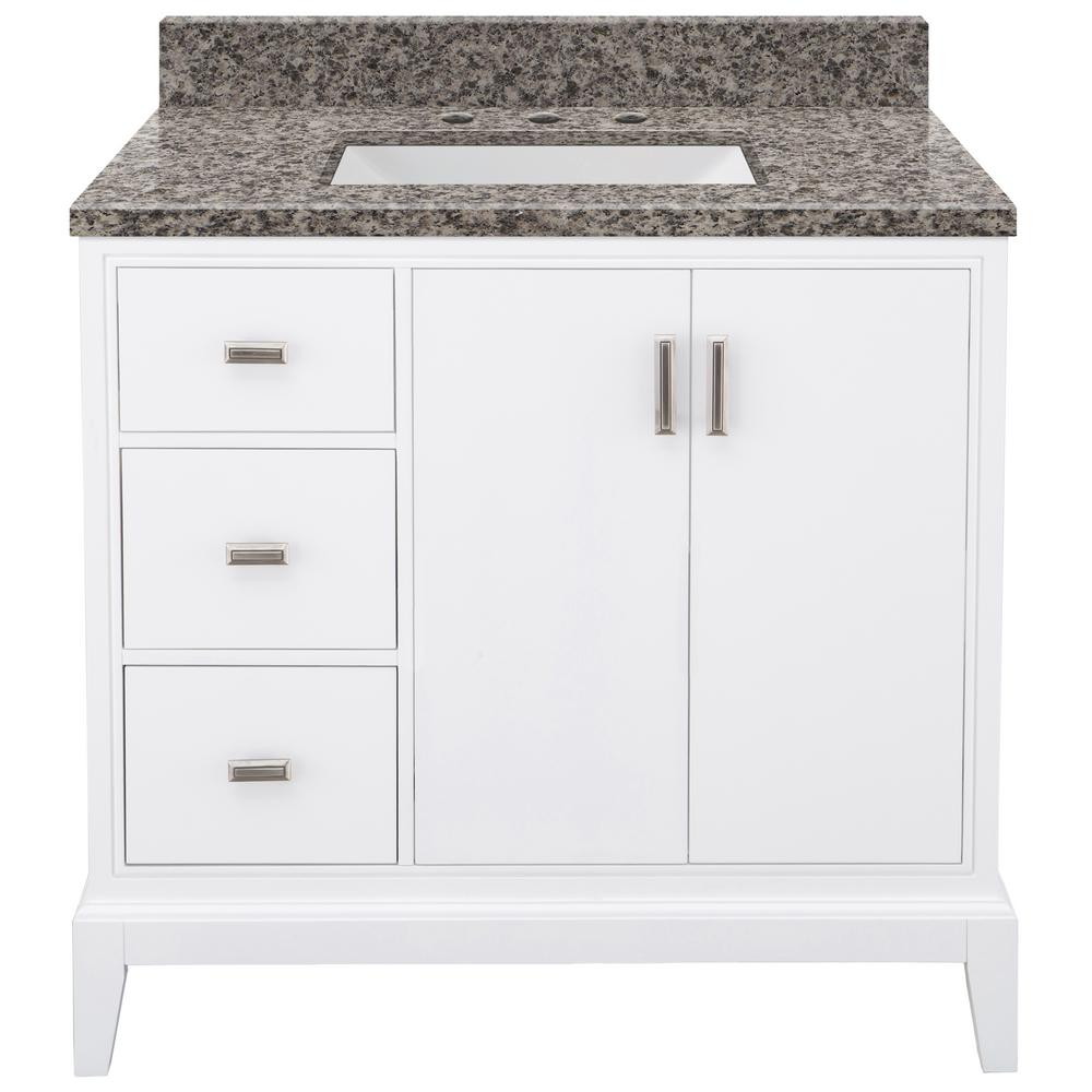 Home Decorators Collection Shaelyn 37 in. W x 22 in. D Bath Vanity in White Left Hand Drawers with Granite Vanity Top in Sircolo with White Sink was $999.0 now $699.3 (30.0% off)