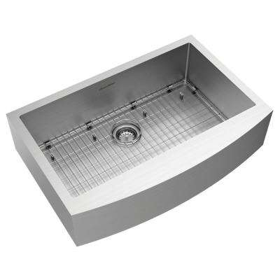 Pekoe Farmhouse/Apron-Front Stainless Steel 33 in. Single Bowl Kitchen Sink