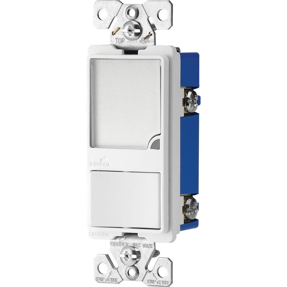 eaton 15 amp 120 volt combination switch with 1 watt led nightlight white 7738w box the home. Black Bedroom Furniture Sets. Home Design Ideas
