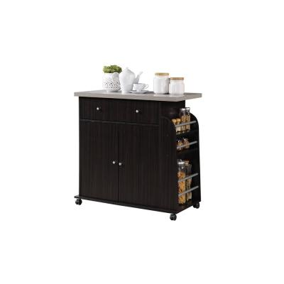 Kitchen Island Chocolate Grey with Spice Rack
