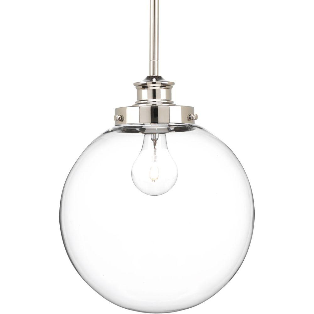 Progress Lighting Penn 9 75 In 1 Light Polished Nickel Pendant With Clear Gl