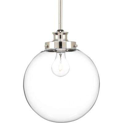 Penn Collection 1-Light Polished Nickel Pendant with Clear Glass
