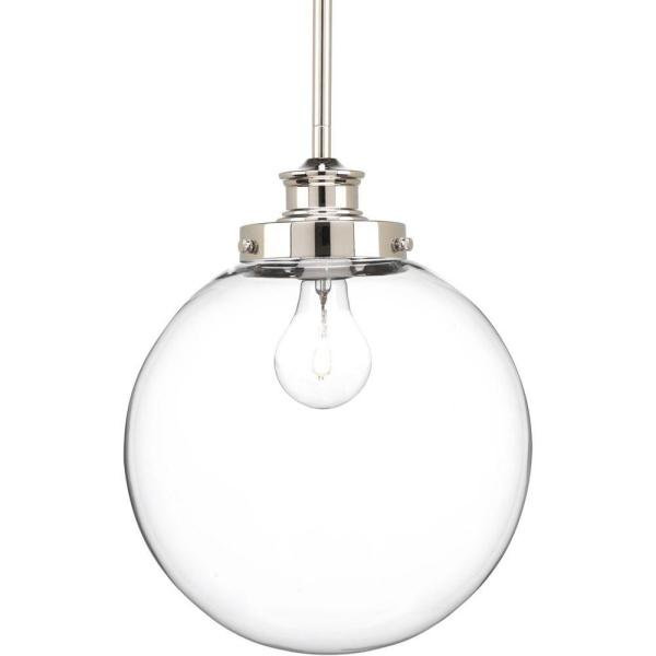 Penn 9.75 in. 1-Light Polished Nickel Pendant with Clear Glass