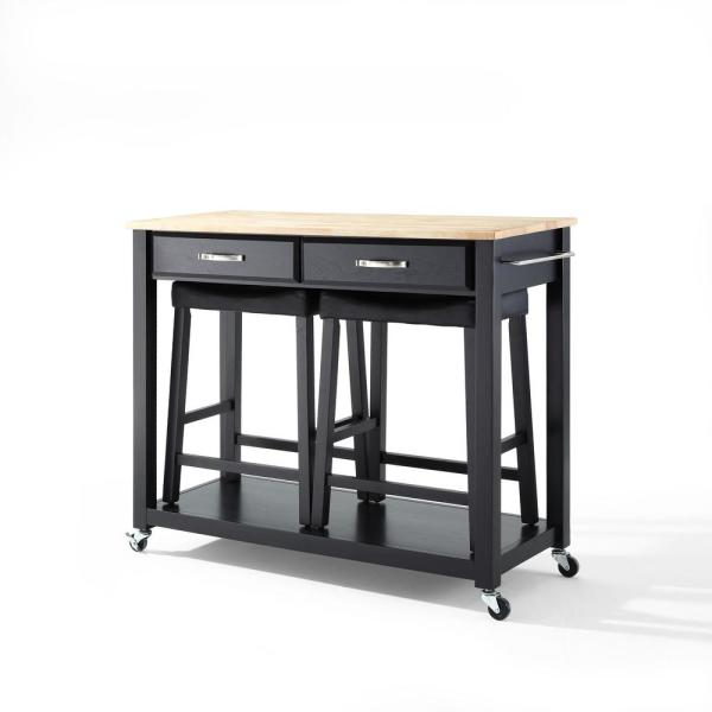 Crosley Black Kitchen Cart With Natural Wood Top KF300514BK