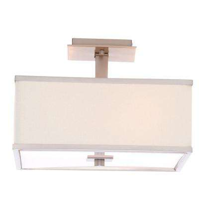 Menlo Park 13 in. 4-Light Brushed Nickel Semi-Flushmount with Cream Fabric Shade
