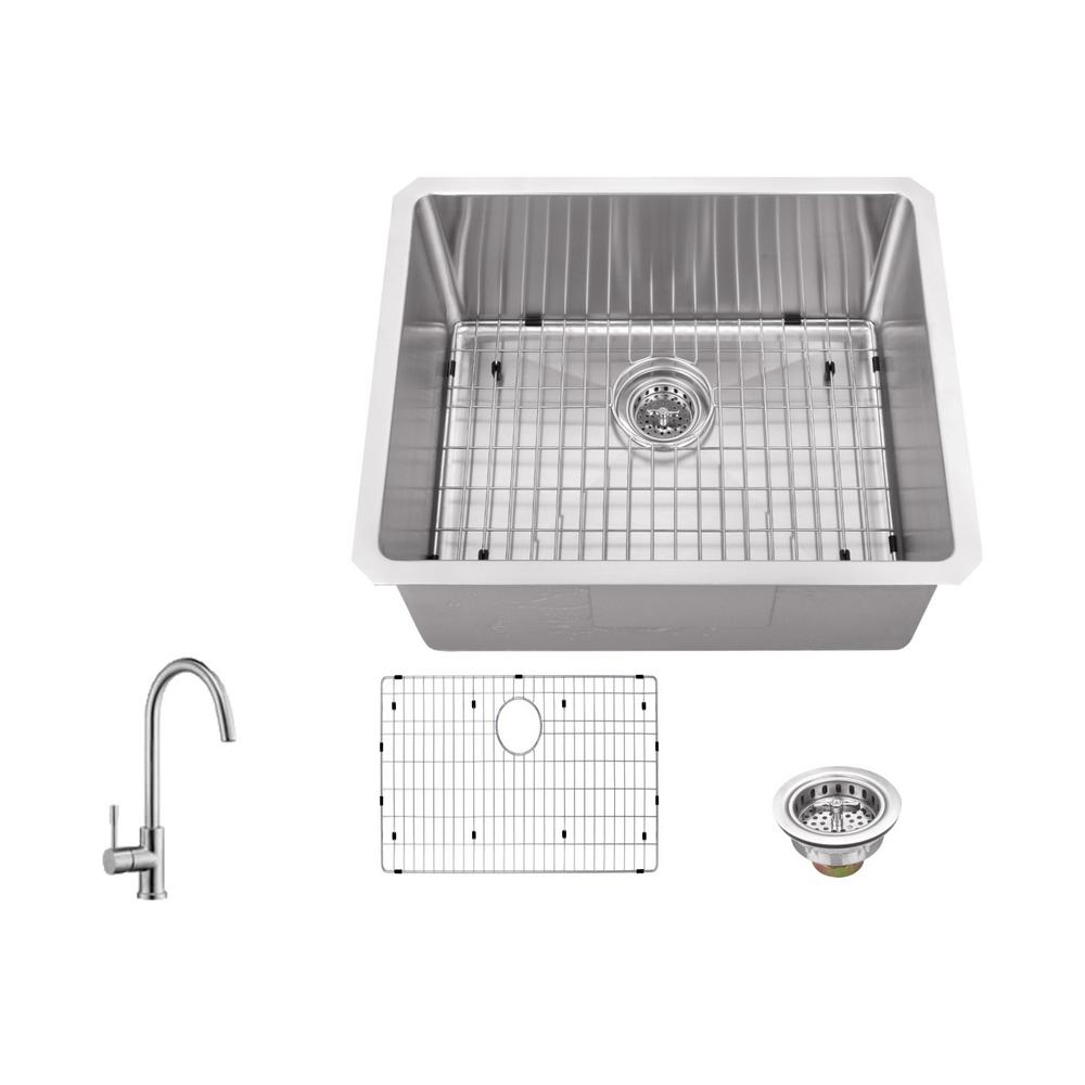 IPT Sink Company Undermount Stainless Steel 23 in. 16-Gauge Bar Sink ...