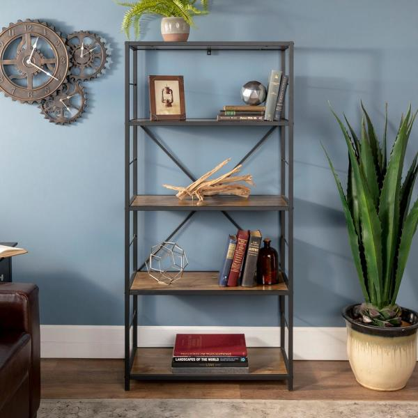 63 in. Barnwood/Black Metal 4-shelf Etagere Bookcase with Open Back