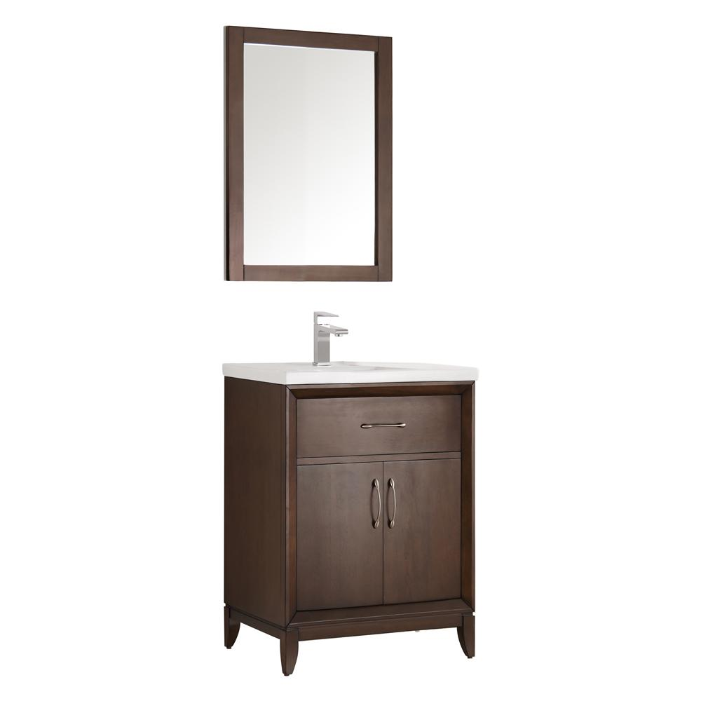 Fresca Cambridge 24 in. Vanity in Antique Coffee with Porcelain Vanity Top in White with White Ceramic Basin and Mirror