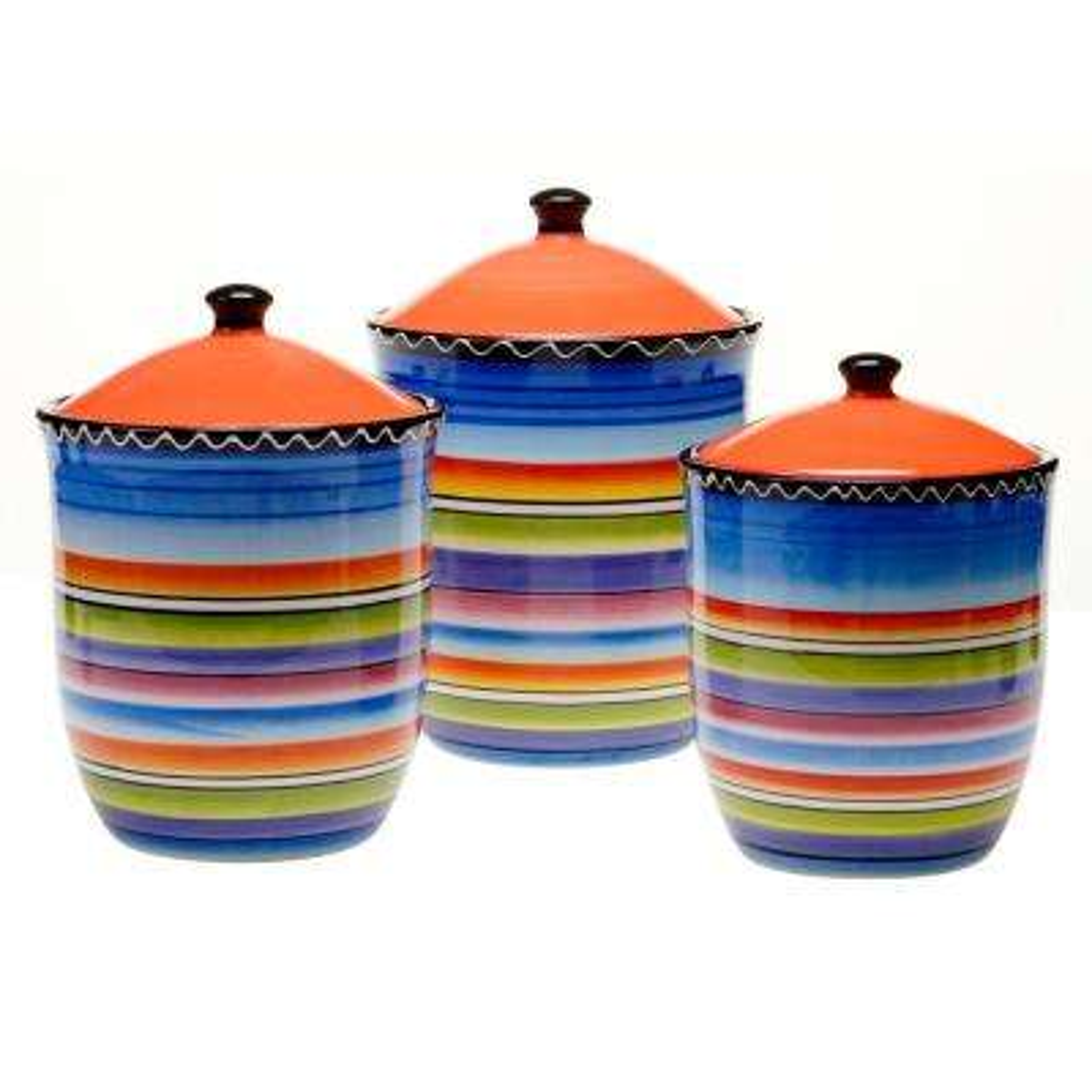 Tequila Sunrise Multi-Colored Glazed Earthenware Canister Set (3-Piece)
