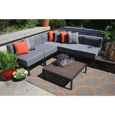 Tribecca 7 Piece All Weather Wicker Outdoor Sectional With Sunbrella Gray  Cushions