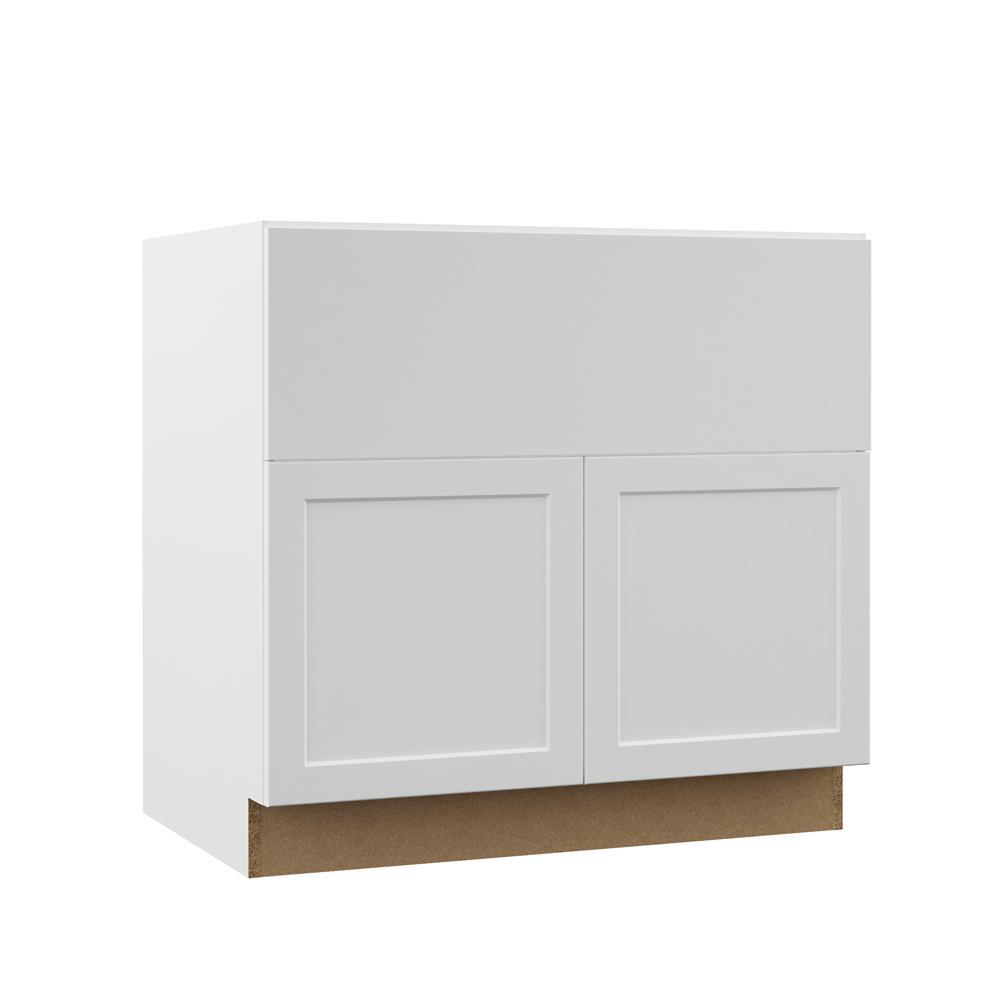 Hampton Bay Designer Series Melvern Assembled 36x34 5x23 75 In Farmhouse Apron Front Sink Base Kitchen Cabinet In White