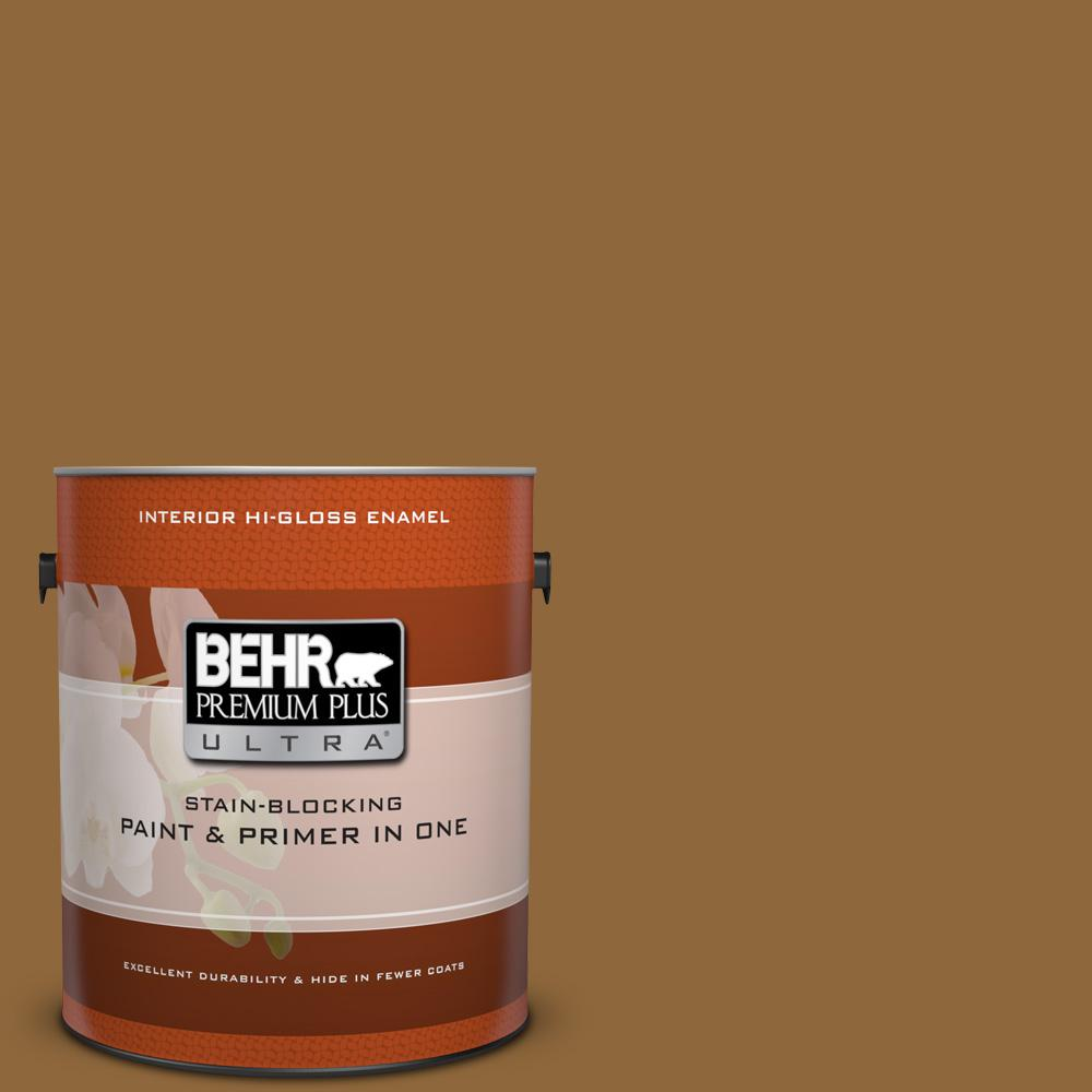 1 gal. #300D-7 Spanish Leather Hi-Gloss Enamel Interior Paint