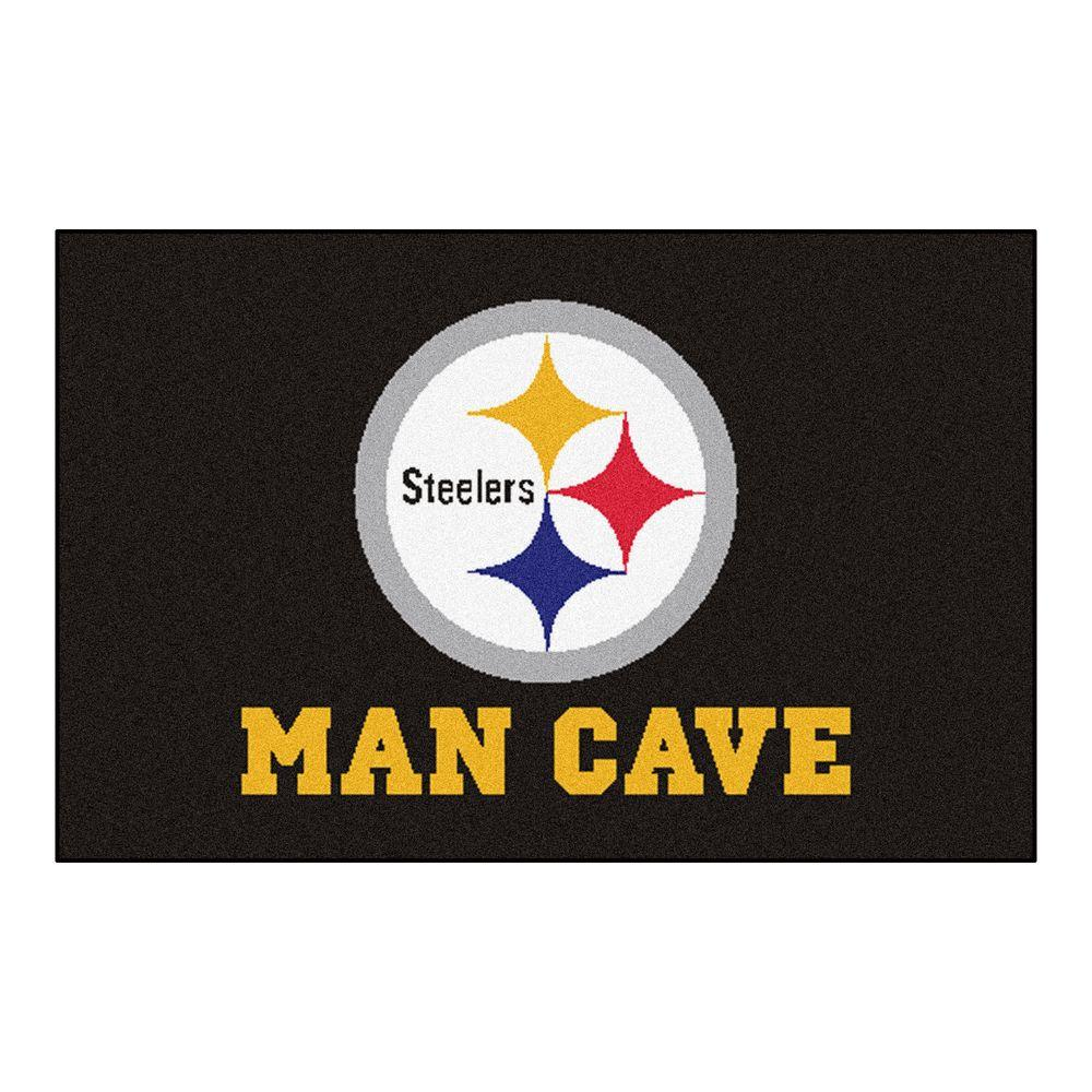 Fanmats Nfl Pittsburgh Steelers Black Man Cave 2 Ft X 3 Area Rug