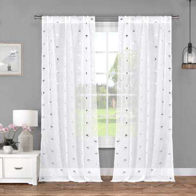 Sandie 37 in. W x 84 in. L Polyester Window Panel in White-Silver (2-Pack)