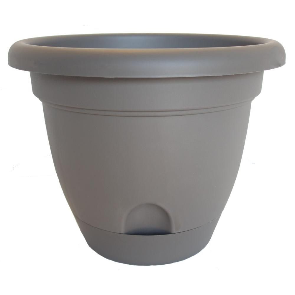 Lucca 16 in. Round Peppercorn Plastic Planter