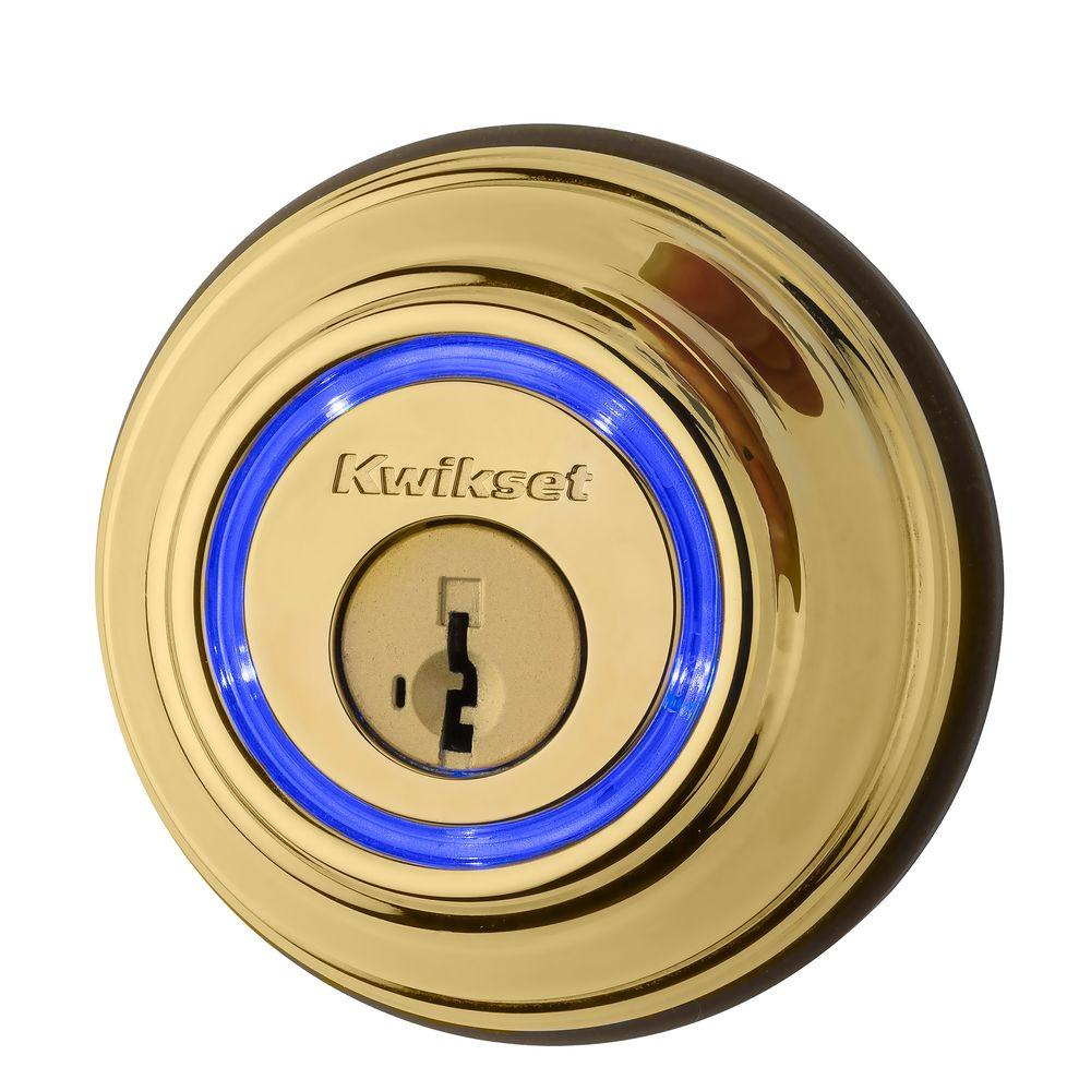 Kwikset Kevo 2nd Gen Lifetime Polished Brass Single Cylinder Touch-to-Open Bluetooth Smart Lock Deadbolt Multi Device Friendly