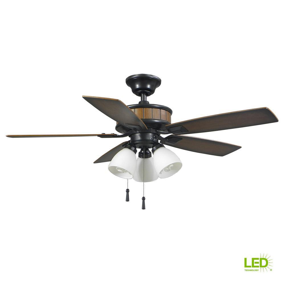 081f6b0a111 Hampton Bay Riverwalk 42 in. LED Indoor Outdoor Natural Iron Ceiling Fan  with Light