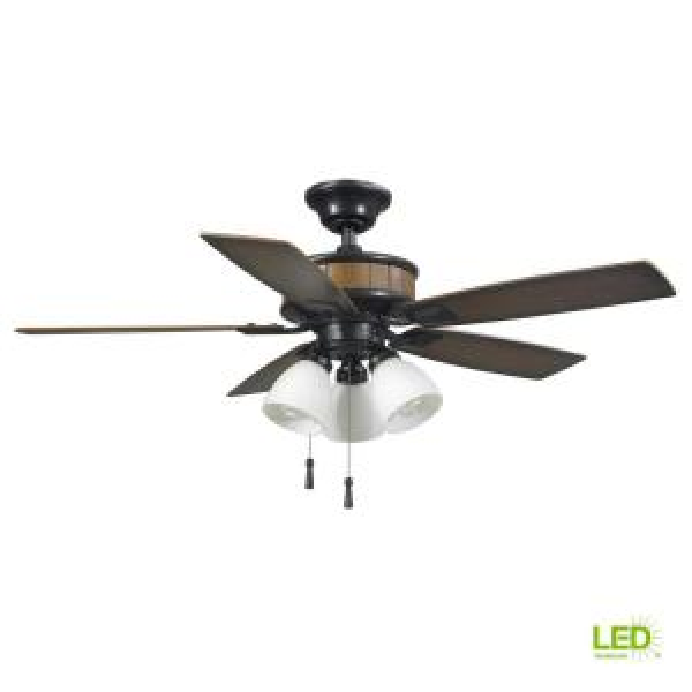 hampton bay rockport 52 in led matte white ceiling fan light led indoor outdoor natural iron ceiling fan light kit