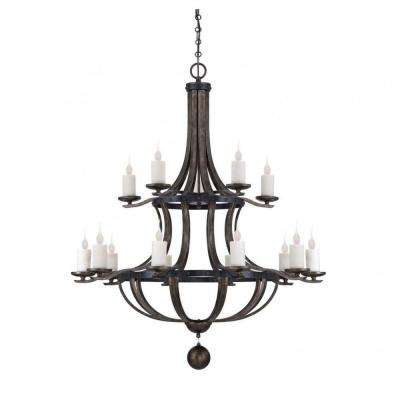 Aumbrie 15-Light Reclaimed Wood Chandelier