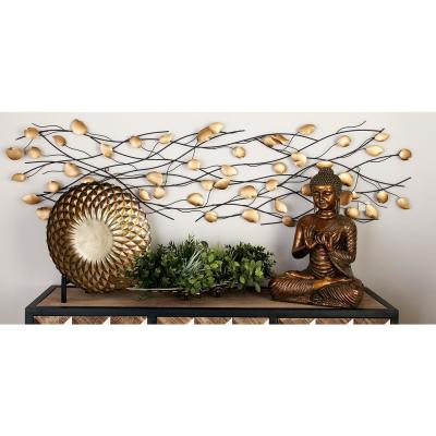 Contemporary Iron Black and Beige Abstract Leaves on Branches Wall Decor