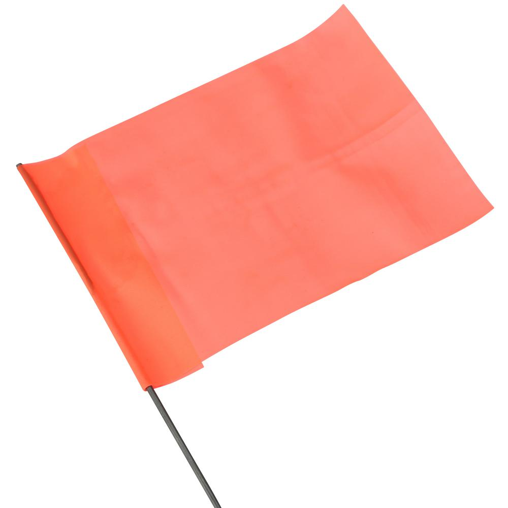 "25 Piece 15/"" Orange PVC Blank Disposable Surveyor Safety Boundary Marking Flag"