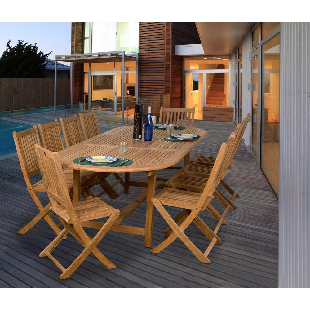 Amazonia Bergen 11 Piece Teak Patio Dining Set