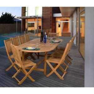 Amazonia bergen 11 piece teak patio dining set sc bergen the home depot Home depot teak patio furniture