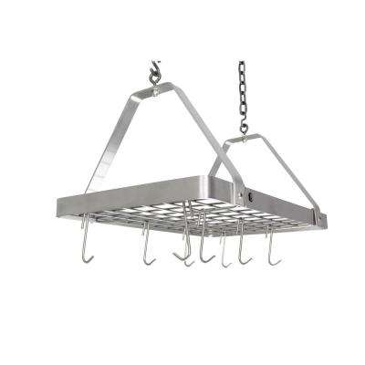 Handcrafted  Rectangle with 12 Hooks Stainless Steel