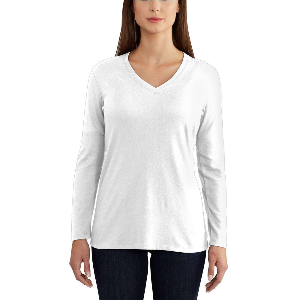 latest fashion latest trends promo code Carhartt Women's Extra-Small White Cotton/Polyester Lockhart Long Sleeve  V-neck T-Shirt