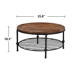 Brown 35 8 In Dia Round Coffee Table With Metal Shelf