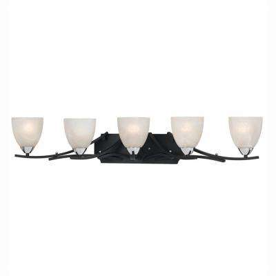 Athens 5-Light Black with Chrome Accents Bath Vanity Light