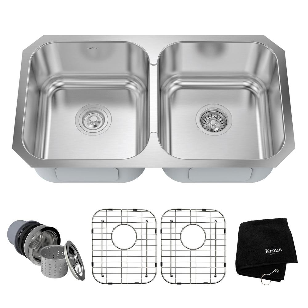 KRAUS Undermount Stainless Steel 31 in. Double Bowl Kitchen Sink Kit