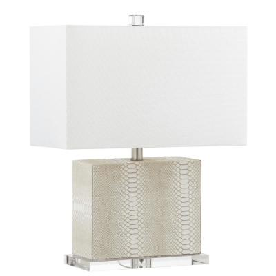 Delia 20.5 in. Cream Faux Alligator Table Lamp with Off-White Shade
