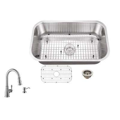 Undermount 30 in. 16-Gauge Stainless Steel Kitchen Sink in Brushed Stainless with Arc Kitchen Faucet