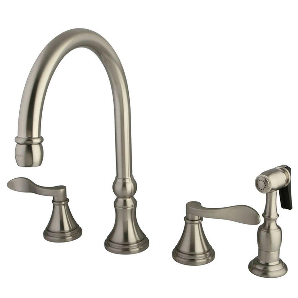 Kingston Brass French 2 Handle Standard Kitchen Faucet With Side Sprayer In  Satin Nickel