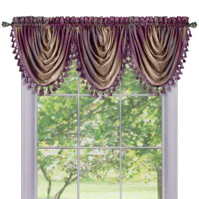 Semi-Opaque Ombre Waterfall 42 in. L Polyester Valance in Aubergine